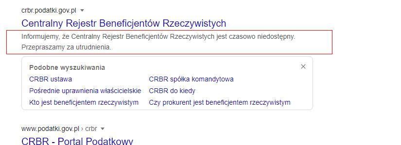 Komunikat o błędzie CRBR
